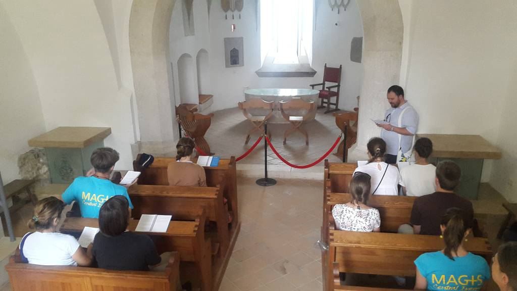 Day 2: Praying in the medieval chapel of castle Diósgyőr (photo by Alexandra Ryzhkova)